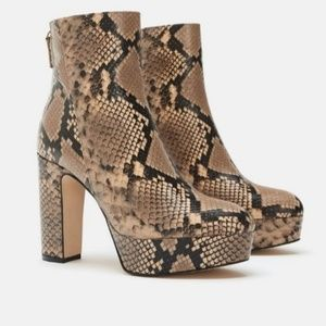 Zara NWT high heel Animal print leather Boots